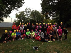 Photo captures a group of dedicated Marathon training runners. They all received free beanies courtesy of Brooks.